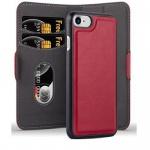 Cadorabo Hülle für Apple iPhone 7 / iPhone 7S / iPhone 8 - Hülle in GRANATAPFEL ROT ? Handyhülle im 2-in-1 Design mit Standfunktion und Kartenfach - Hard Case Book Etui Schutzhülle Tasche Cover