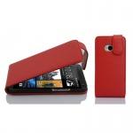 Cadorabo Hülle für HTC ONE M7 (1.Gen.) - Hülle in INFERNO ROT â€? Handyhülle aus strukturiertem Kunstleder im Flip Design - Case Cover Schutzhülle Etui Tasche