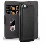 Cadorabo Hülle für Apple iPhone 6 / iPhone 6S - Hülle in KOHLEN SCHWARZ ? Handyhülle im 2-in-1 Design mit Standfunktion und Kartenfach - Hard Case Book Etui Schutzhülle Tasche Cover