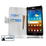 Cadorabo Hülle für Samsung Galaxy NOTE 1 - Hülle in POLAR WEIß ? Handyhülle mit Kartenfach aus glattem Kunstleder - Case Cover Schutzhülle Etui Tasche Book Klapp Style