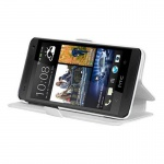 Cadorabo Hülle für HTC ONE MINI M4 (1.Gen.) - Hülle in ICY WEIß - Handyhülle mit Standfunktion und Kartenfach im Ultra Slim Design - Case Cover Schutzhülle Etui Tasche Book