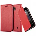 Cadorabo Hülle für Nokia 1 2017 - Hülle in APFEL ROT - Handyhülle mit Magnetverschluss, Standfunktion und Kartenfach - Case Cover Schutzhülle Etui Tasche Book Klapp Style