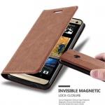 Cadorabo Hülle für HTC ONE M7 (1.Gen.) - Hülle in CAPPUCCINO BRAUN ? Handyhülle mit Magnetverschluss, Standfunktion und Kartenfach - Case Cover Schutzhülle Etui Tasche Book Klapp Style