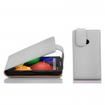 Cadorabo Hülle für Motorola MOTO E (1.Gen.) - Hülle in MAGNESIUM WEIß â€? Handyhülle aus strukturiertem Kunstleder im Flip Design - Case Cover Schutzhülle Etui Tasche