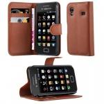 Cadorabo Hülle für Samsung Galaxy ACE 1 - Hülle in SCHOKO BRAUN ? Handyhülle mit Kartenfach und Standfunktion - Case Cover Schutzhülle Etui Tasche Book Klapp Style