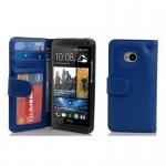 Cadorabo Hülle für HTC ONE M7 (1. Gen.) - Hülle in NEPTUN BLAU ? Handyhülle mit 3 Kartenfächern - Case Cover Schutzhülle Etui Tasche Book Klapp Style