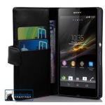 Cadorabo Hülle für Sony Xperia Z (1.Gen.) - Hülle in KAVIAR SCHWARZ ? Handyhülle mit Kartenfach aus glattem Kunstleder - Case Cover Schutzhülle Etui Tasche Book Klapp Style
