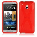 Cadorabo Hülle für HTC ONE M4 MINI (1.Gen.) - Hülle in INFERNO ROT â€? Handyhülle aus flexiblem TPU Silikon im X-Line Design - Ultra Slim Soft Backcover Case Bumper