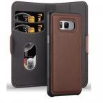 Cadorabo Hülle für Samsung Galaxy S8 - Hülle in ANTIK BRAUN - Handyhülle im 2-in-1 Design mit Standfunktion und Kartenfach - Hard Case Book Etui Schutzhülle Tasche Cover