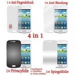 Cadorabo Displayschutzfolien für Samsung Galaxy ACE 2 - Schutzfolien in HIGH CLEAR - 4 Folien (1x Privacy - 1x Spiegel - 1x Matt - 1x Anti-Fingerabdruck)