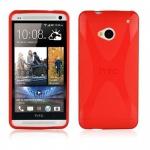 Cadorabo Hülle für HTC ONE M7 (1.Gen.) - Hülle in INFERNO ROT â€? Handyhülle aus flexiblem TPU Silikon im X-Line Design - Ultra Slim Soft Backcover Case Bumper