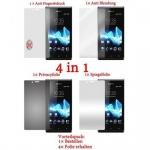 Cadorabo Displayschutzfolien für Sony Xperia J - Schutzfolien in HIGH CLEAR - 4 Folien (1x Privacy - 1x Spiegel - 1x Matt - 1x Anti-Fingerabdruck)