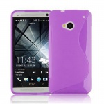 Cadorabo Hülle für HTC ONE M7 (1.Gen.) - Hülle in FLIEDER VIOLETT - Handyhülle aus flexiblem TPU Silikon im S-Line Design - Silikonhülle Schutzhülle Soft Back Cover Case Bumper
