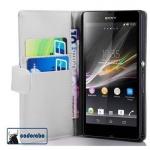 Cadorabo Hülle für Sony Xperia Z (1.Gen.) - Hülle in POLAR WEIß - Handyhülle mit Kartenfach aus glattem Kunstleder - Case Cover Schutzhülle Etui Tasche Book Klapp Style