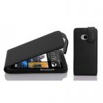 Cadorabo Hülle für HTC ONE M7 (1.Gen.) - Hülle in OXID SCHWARZ ? Handyhülle aus strukturiertem Kunstleder im Flip Design - Case Cover Schutzhülle Etui Tasche
