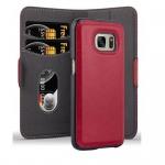 Cadorabo Hülle für Samsung Galaxy S7 - Hülle in GRANATAPFEL ROT ? Handyhülle im 2-in-1 Design mit Standfunktion und Kartenfach - Hard Case Book Etui Schutzhülle Tasche Cover