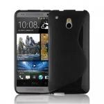 Cadorabo Hülle für HTC ONE M4 MINI (1.Gen.) - Hülle in OXID SCHWARZ - Handyhülle aus flexiblem TPU Silikon im S-Line Design - Silikonhülle Schutzhülle Soft Back Cover Case Bumper