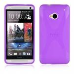 Cadorabo Hülle für HTC ONE M7 (1.Gen.) - Hülle in FLIEDER VIOLETT â€? Handyhülle aus flexiblem TPU Silikon im X-Line Design - Ultra Slim Soft Backcover Case Bumper