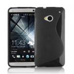Cadorabo Hülle für HTC ONE M7 (1.Gen.) - Hülle in OXID SCHWARZ â€? Handyhülle aus flexiblem TPU Silikon im S-Line Design - Ultra Slim Soft Backcover Case Bumper