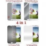 Cadorabo Displayschutzfolien für Samsung Galaxy S4 - Schutzfolien in HIGH CLEAR - 4 Folien (1x Privacy - 1x Spiegel - 1x Matt - 1x Anti-Fingerabdruck)