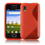 Cadorabo Hülle für Samsung Galaxy ACE 1 - Hülle in INFERNO ROT ? Handyhülle aus flexiblem TPU Silikon im S-Line Design - Ultra Slim Soft Backcover Case Bumper