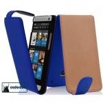 Cadorabo Hülle für HTC ONE MINI M4 (1.Gen.) - Hülle in BRILLIANT BLAU - Handyhülle aus glattem Kunstleder im Flip Design - Case Cover Schutzhülle Etui Tasche