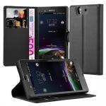 Cadorabo Hülle für Sony Xperia Z (1.Gen.) - Hülle in PHANTOM SCHWARZ - Handyhülle mit Kartenfach und Standfunktion - Case Cover Schutzhülle Etui Tasche Book Klapp Style