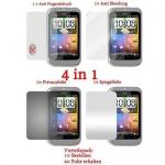 Cadorabo Displayschutzfolien für HTC WILDFIRE S - Schutzfolien in HIGH CLEAR - 4 Folien (1x Privacy - 1x Spiegel - 1x Matt - 1x Anti-Fingerabdruck)
