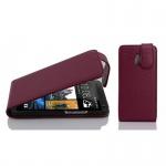 Cadorabo Hülle für HTC ONE M4 MINI (1.Gen.) - Hülle in BORDEAUX LILA - Handyhülle aus strukturiertem Kunstleder im Flip Design - Case Cover Schutzhülle Etui Tasche