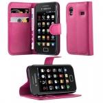 Cadorabo Hülle für Samsung Galaxy ACE 1 - Hülle in CHERRY PINK ? Handyhülle mit Kartenfach und Standfunktion - Case Cover Schutzhülle Etui Tasche Book Klapp Style