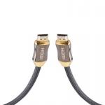 Cadorabo - 5, 0m HQ HDMI Kabel 2.0 / 1.4a High Speed mi Ethernet, Nylon-Schutz, Ultra HD 4K - 3D Ready ARC 1080p / 2160p [5 Meter] mit vergoldeten Anschlüssen in SCHWARZ