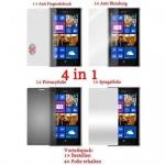 Cadorabo Displayschutzfolien für Nokia Lumia 925 - Schutzfolien in HIGH CLEAR - 4 Folien (1x Privacy - 1x Spiegel - 1x Matt - 1x Anti-Fingerabdruck)