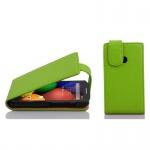 Cadorabo Hülle für Motorola MOTO E (1.Gen.) - Hülle in APFEL GRßN â€? Handyhülle aus strukturiertem Kunstleder im Flip Design - Case Cover Schutzhülle Etui Tasche
