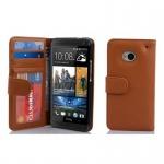 Cadorabo Hülle für HTC ONE M7 (1. Gen.) - Hülle in COGNAC BRAUN ? Handyhülle mit 3 Kartenfächern - Case Cover Schutzhülle Etui Tasche Book Klapp Style