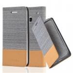 Cadorabo Hülle für HTC ONE M7 (1. Gen.) - Hülle in HELL GRAU BRAUN ? Handyhülle mit Standfunktion und Kartenfach im Stoff Design - Case Cover Schutzhülle Etui Tasche Book
