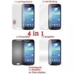 Cadorabo Displayschutzfolien für Samsung Galaxy S4 MINI - Schutzfolien in HIGH CLEAR - 4 Folien (1x Privacy - 1x Spiegel - 1x Matt - 1x Anti-Fingerabdruck)