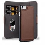 Cadorabo Hülle für Apple iPhone 7 / iPhone 7S / iPhone 8 - Hülle in ANTIK BRAUN ? Handyhülle im 2-in-1 Design mit Standfunktion und Kartenfach - Hard Case Book Etui Schutzhülle Tasche Cover