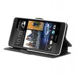Cadorabo Hülle für HTC ONE MINI M4 (1.Gen.) - Hülle in ICY SCHWARZ - Handyhülle mit Standfunktion und Kartenfach im Ultra Slim Design - Case Cover Schutzhülle Etui Tasche Book
