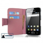 Cadorabo Hülle für Samsung Galaxy ACE 1 - Hülle in ANTIK ROSA - Handyhülle mit Kartenfach aus glattem Kunstleder - Case Cover Schutzhülle Etui Tasche Book Klapp Style