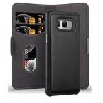 Cadorabo Hülle für Samsung Galaxy S8 - Hülle in KOHLEN SCHWARZ ? Handyhülle im 2-in-1 Design mit Standfunktion und Kartenfach - Hard Case Book Etui Schutzhülle Tasche Cover