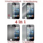 Cadorabo Displayschutzfolien für Apple iPhone 5 / 5S - Schutzfolien in HIGH CLEAR - 4 Folien (1x Privacy - 1x Spiegel - 1x Matt - 1x Anti-Fingerabdruck)
