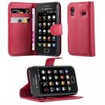 Cadorabo Hülle für Samsung Galaxy ACE 1 - Hülle in KARMIN ROT ? Handyhülle mit Kartenfach und Standfunktion - Case Cover Schutzhülle Etui Tasche Book Klapp Style