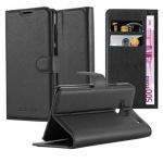 Cadorabo Hülle für HTC ONE M7 (1. Gen.) - Hülle in PHANTOM SCHWARZ - Handyhülle mit Kartenfach und Standfunktion - Case Cover Schutzhülle Etui Tasche Book Klapp Style