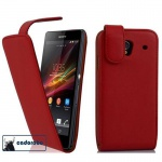 Cadorabo Hülle für Sony Xperia Z (1.Gen.) - Hülle in CHILI ROT ? Handyhülle aus glattem Kunstleder im Flip Design - Case Cover Schutzhülle Etui Tasche