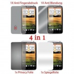 Cadorabo Displayschutzfolien für HTC ONE X / ONE X+ - Schutzfolien in HIGH CLEAR - 4 Folien (1x Privacy - 1x Spiegel - 1x Matt - 1x Anti-Fingerabdruck)