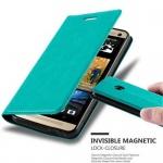 Cadorabo Hülle für HTC ONE M7 (1.Gen.) - Hülle in PETROL TÜRKIS ? Handyhülle mit Magnetverschluss, Standfunktion und Kartenfach - Case Cover Schutzhülle Etui Tasche Book Klapp Style