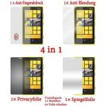 Cadorabo Displayschutzfolien für Nokia Lumia 900 - Schutzfolien in HIGH CLEAR - 4 Folien (1x Privacy - 1x Spiegel - 1x Matt - 1x Anti-Fingerabdruck)