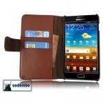 Cadorabo Hülle für Samsung Galaxy NOTE 1 - Hülle in KAKAO BRAUN - Handyhülle mit Kartenfach aus glattem Kunstleder - Case Cover Schutzhülle Etui Tasche Book Klapp Style