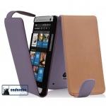 Cadorabo Hülle für HTC ONE MINI M4 (1.Gen.) - Hülle in FLIEDER VIOLETT - Handyhülle aus glattem Kunstleder im Flip Design - Case Cover Schutzhülle Etui Tasche