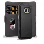Cadorabo Hülle für Samsung Galaxy S7 - Hülle in KOHLEN SCHWARZ ? Handyhülle im 2-in-1 Design mit Standfunktion und Kartenfach - Hard Case Book Etui Schutzhülle Tasche Cover